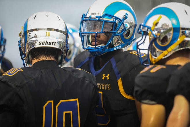Angelo State Rams listen to the coach before the game against Texas A&M-Kingsville Saturday, Sept. 15, 2018, at LeGrand Stadium at 1st Community Credit Union Field.