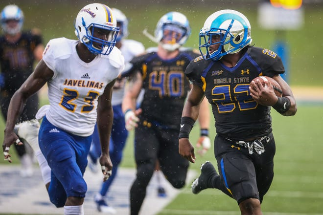 Angelo State's Spencer Gilbert II runs a touchdown against Texas A&M-Kingsville Saturday, Sept. 15, 2018, at LeGrand Stadium at 1st Community Credit Union Field.