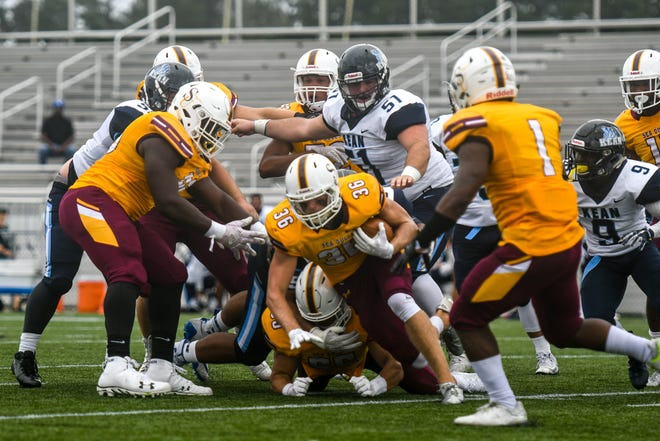 Salisbury University's Sean Carroll recovers a fumble against Kean on Saturday, Sept 15, 2018 at Seagull Stadium.