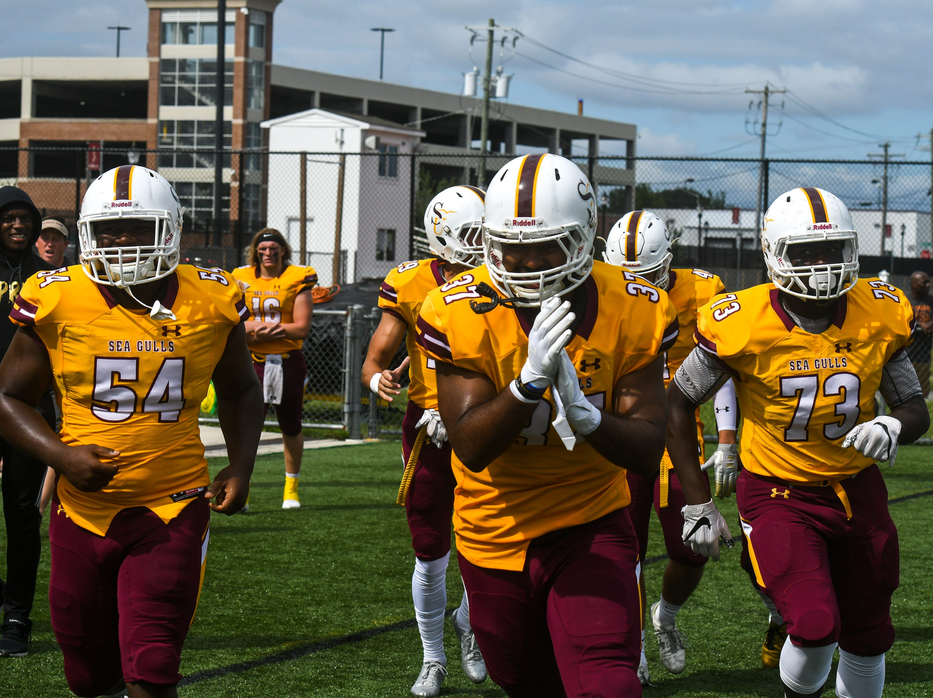 Salisbury University celebrates after a touchdown against Kean on Saturday, Sept 15, 2018 at Seagull Stadium.