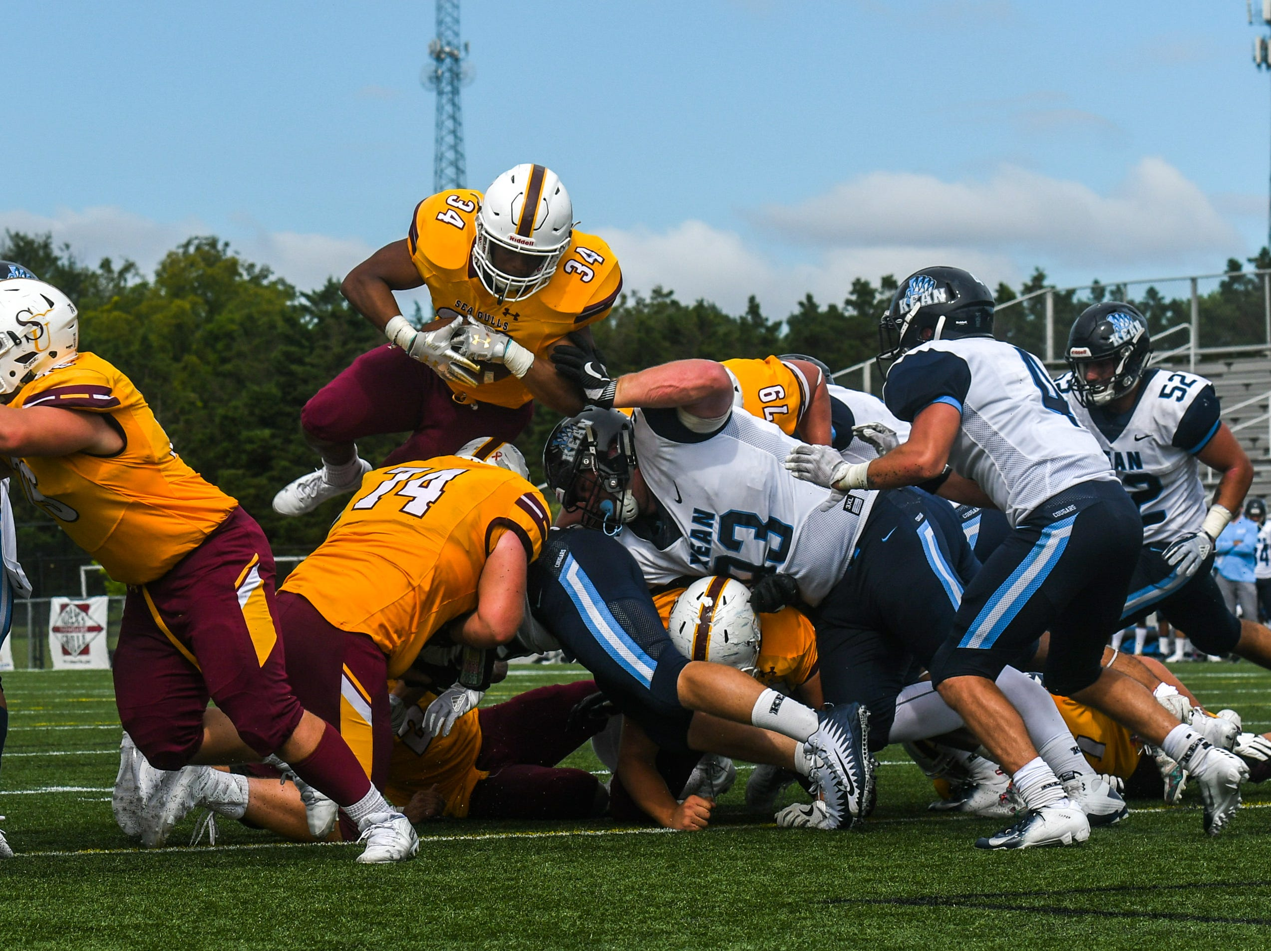 Salisbury University's Kadarrius Campbell dives for a touchdown against Kean on Saturday, Sept 15, 2018 at Seagull Stadium.
