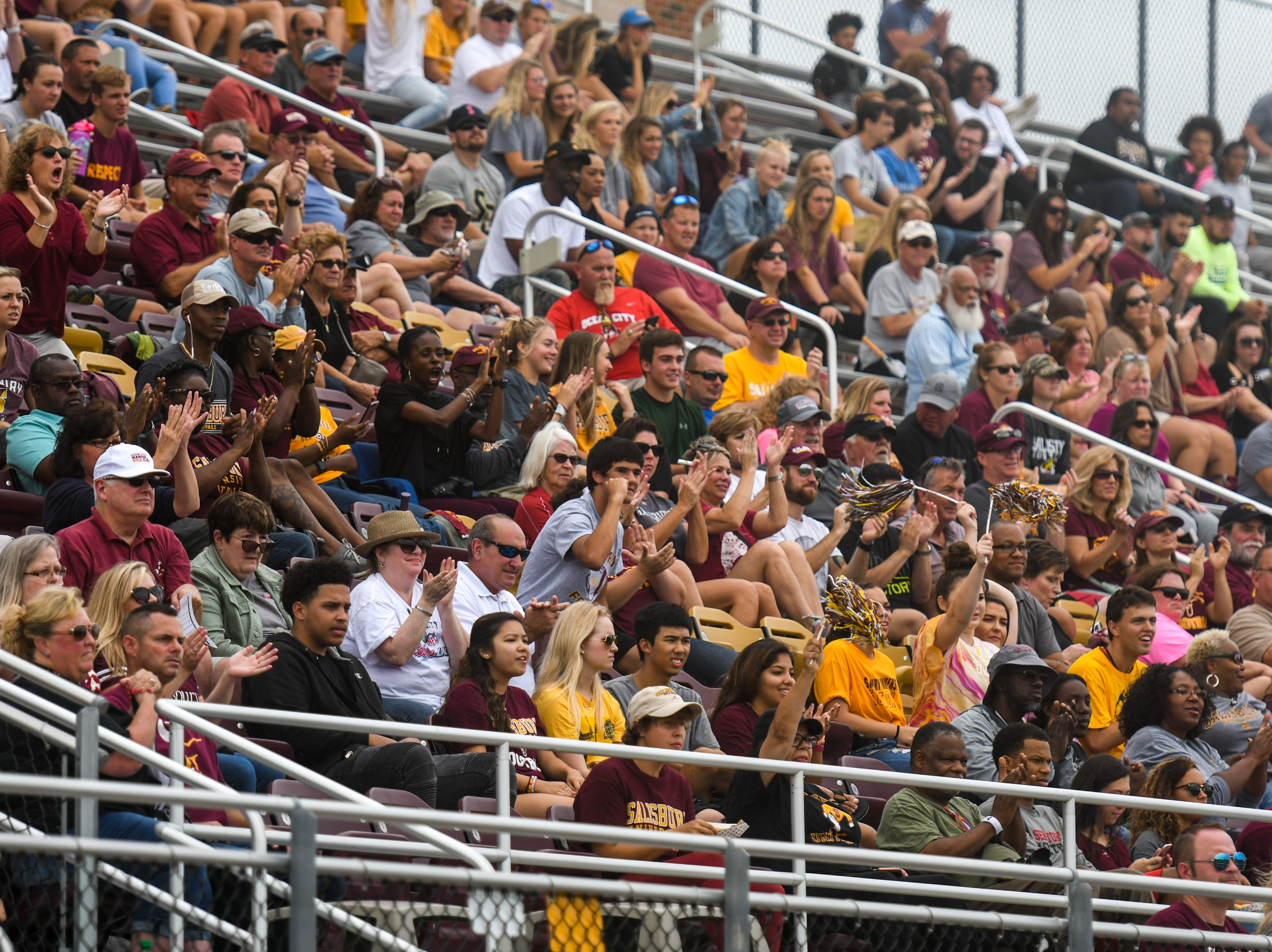 The Salisbury University crowd cheers after a touchdown against Kean on Saturday, Sept 15, 2018 at Seagull Stadium.