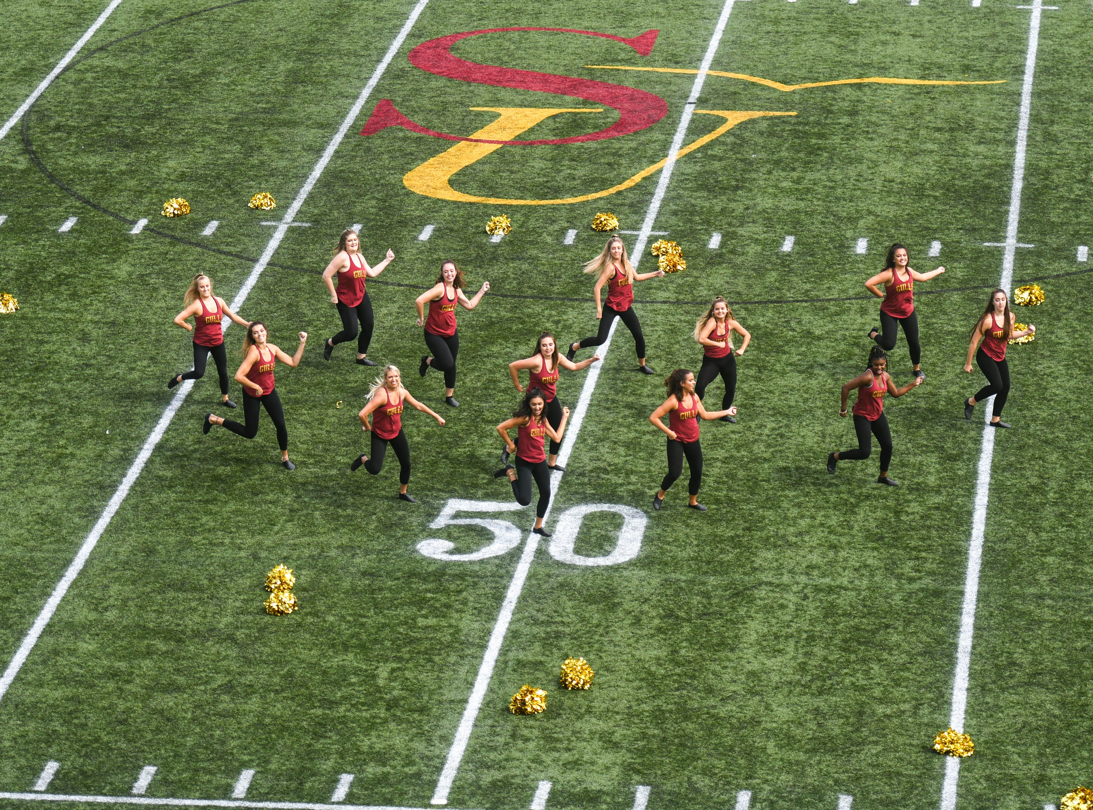 Salisbury University's dance team performs a halftime show at their game against Kean on Saturday, Sept 15, 2018 at Seagull Stadium.