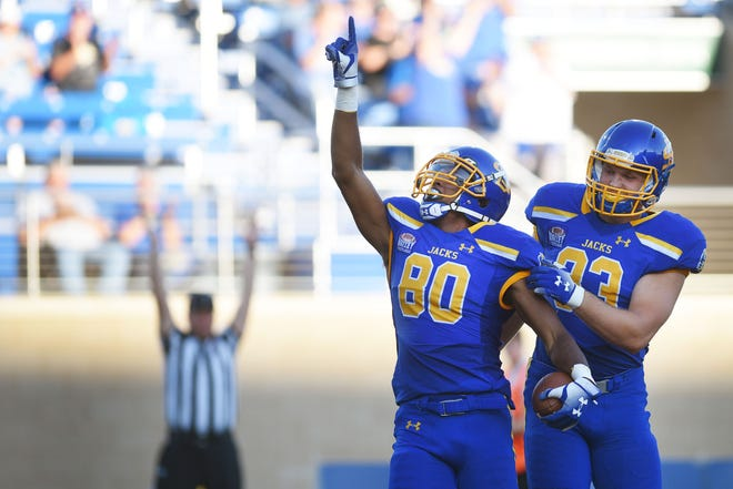 SDSU's Adam Anderson celebrates a touchdown during the game against Arkansas-Pine Bluff Saturday, Sept. 15, at Dana J Dykhouse Stadium in Brookings.