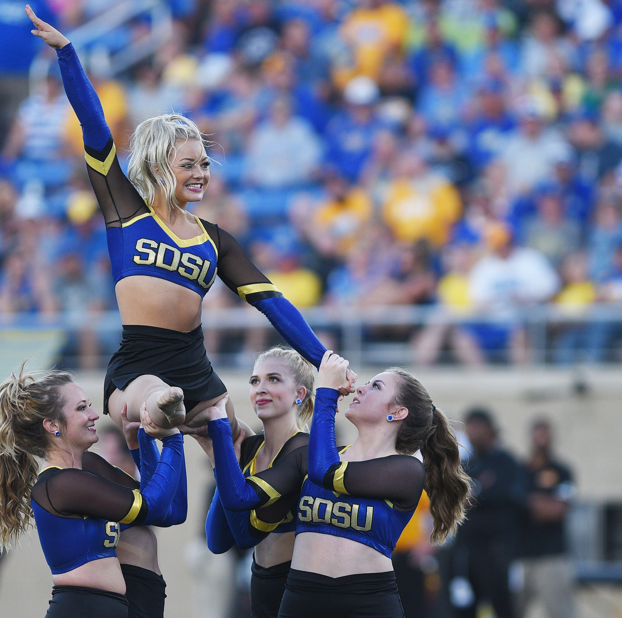 SDSU dance performs during the game against Arkansas-Pine Bluff Saturday, Sept. 15, at Dana J Dykhouse Stadium in Brookings.