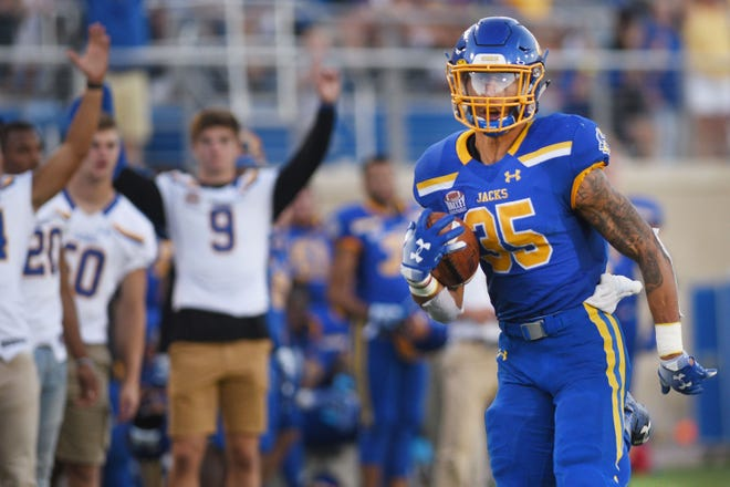 SDSU's Isaac Wallace scores a touchdown during the game  against Arkansas-Pine Bluff Saturday, Sept. 15, at Dana J Dykhouse Stadium in Brookings.