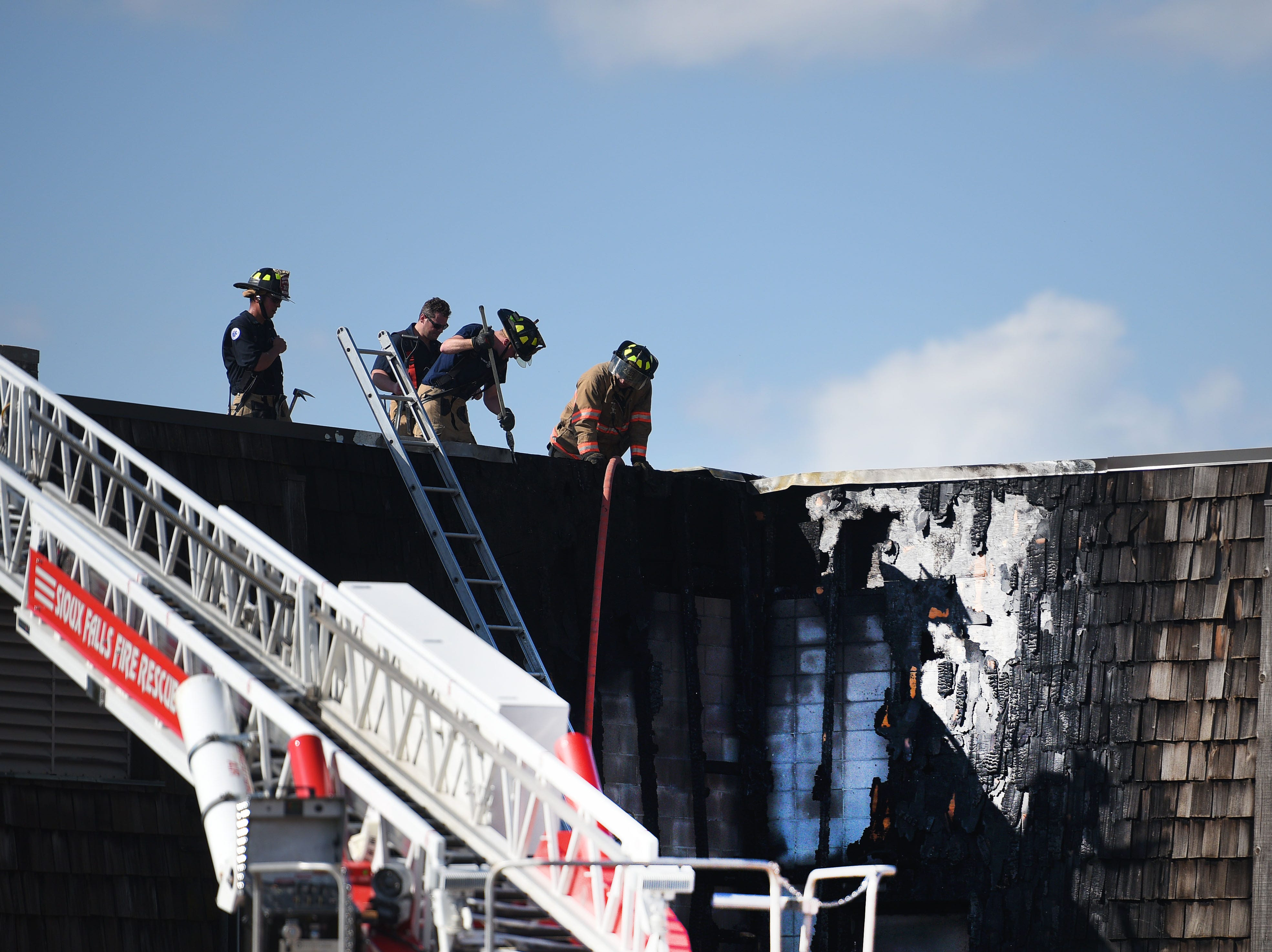 A fire is contained at the Minnehaha County Correction Center Sunday, Sept. 16, in Sioux Falls.