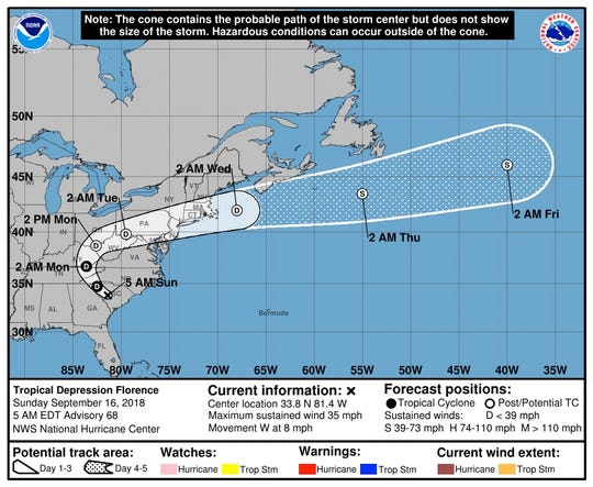 New storm path as of Sunday, Sept. 16, 2018.