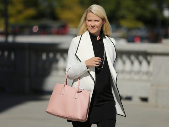 Elizabeth Smart walks to her press conference at the Utah State Capitol in Salt Lake City on Thursday, Sept. 13, 2018. She says she believes Wanda Barzee is still dangerous.