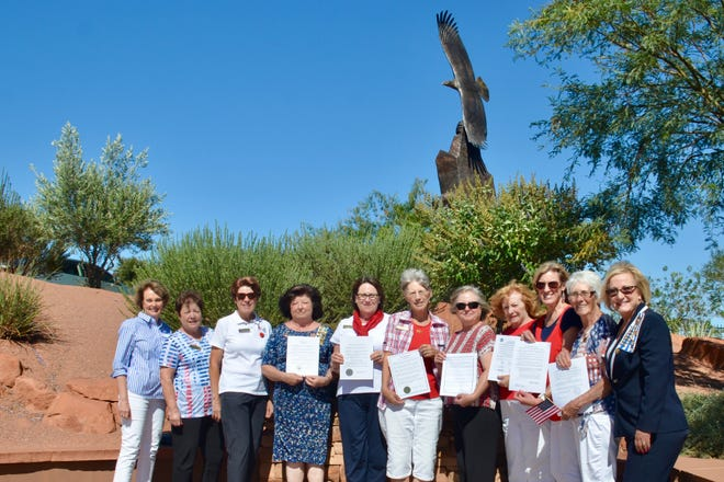 "Members of the Color Country chapter of the Daughters of the American Revolution hold up proclamations they received this month from area mayors designating Sept. 17-23 as ""Constitution Week."""
