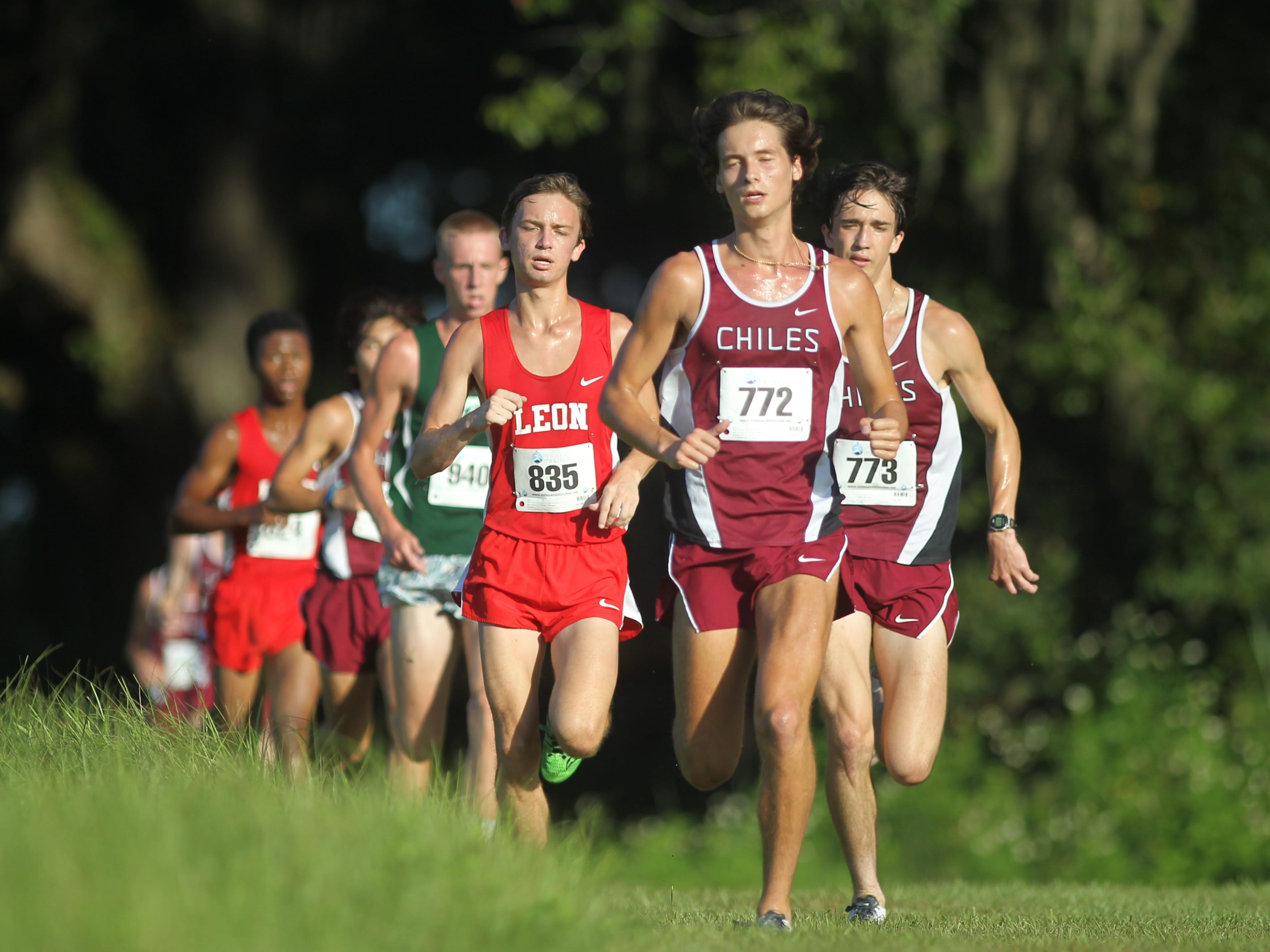 Chiles' Clay Milford leads a pack of runners at the Red Hills Invitational cross country meet at Elinor Klapp-Phipps Park.