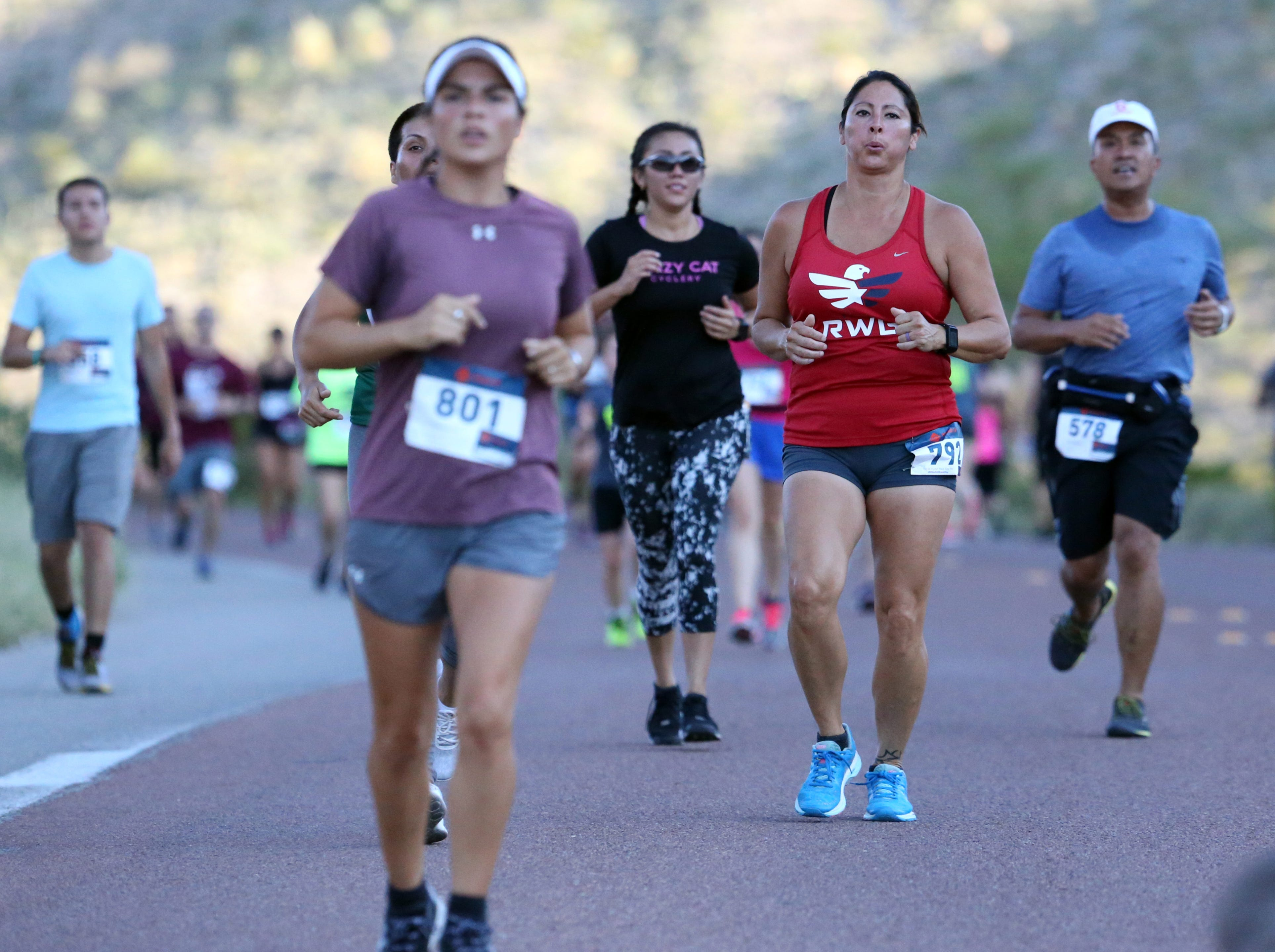 Runners in the 7th annual McKelligon Canyon Challenge Sunday.