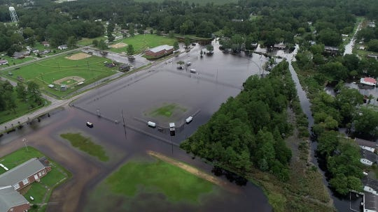 Drone photos local flooding in Belhaven, North Carolina on Saturday, September 15, 2018.
