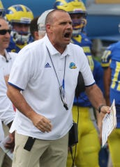 Delaware head coach Danny Rocco works in the first quarter at Delaware Stadium Saturday.