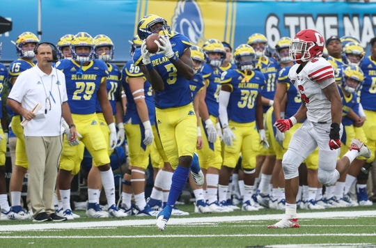 Delaware receiver Joe Walker makes a catch for 41 yards in front Cornell's Kolby McGowan in the fourth quarter of the Blue Hens' 27-10 win at Delaware Stadium. Walker finished with 6 catches for 154 yards.