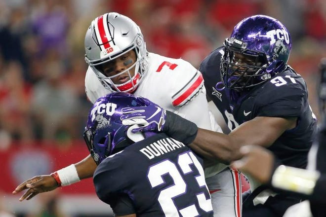 TCU senior L.J. Collier, a Munday graduate, was named to the All-Big 12 first team on Wednesday.