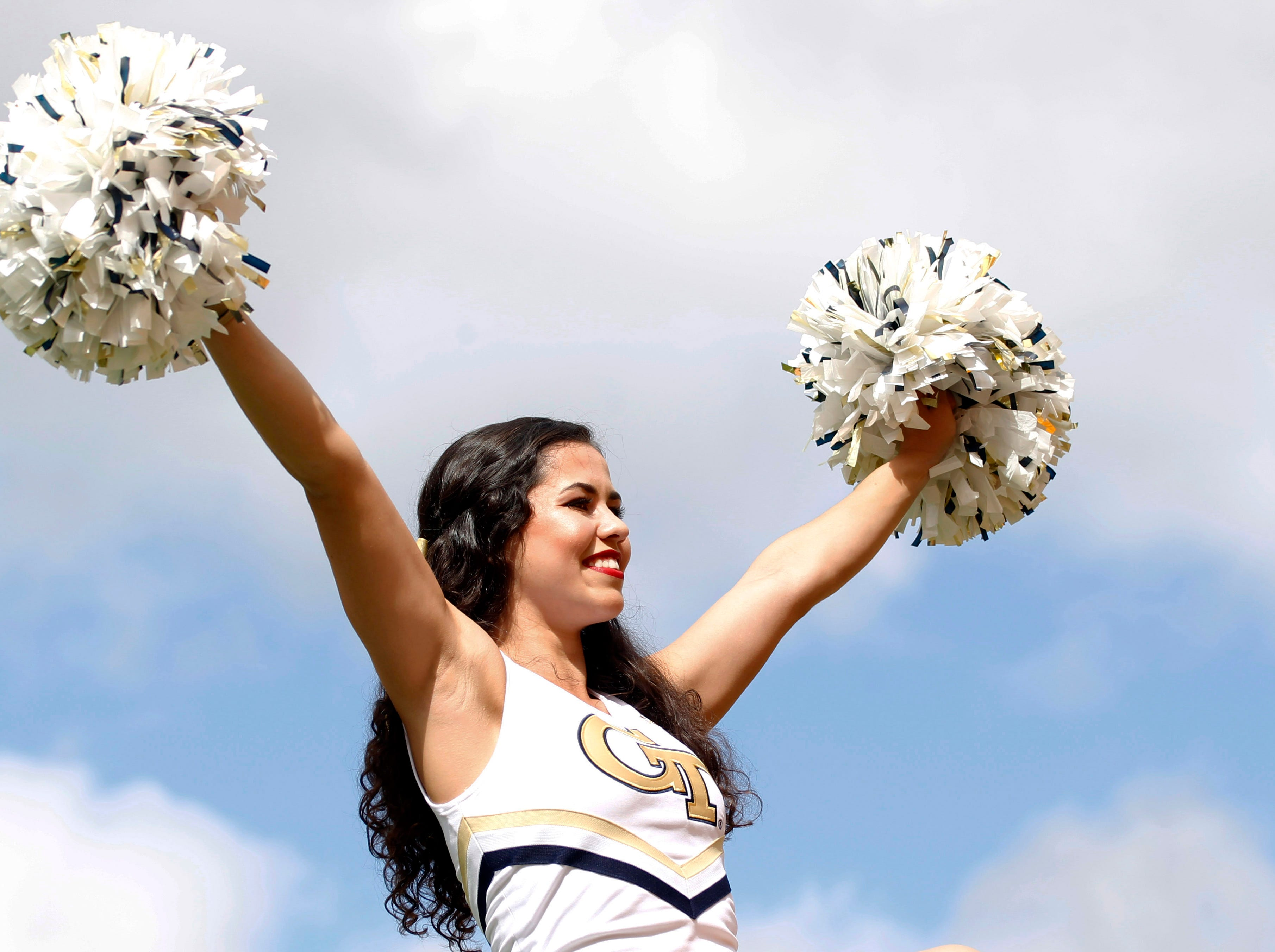 Week 3: A Georgia Tech cheerleader cheers before the Yellow Jackets play the Pittsburgh Panthers at Heinz Field.