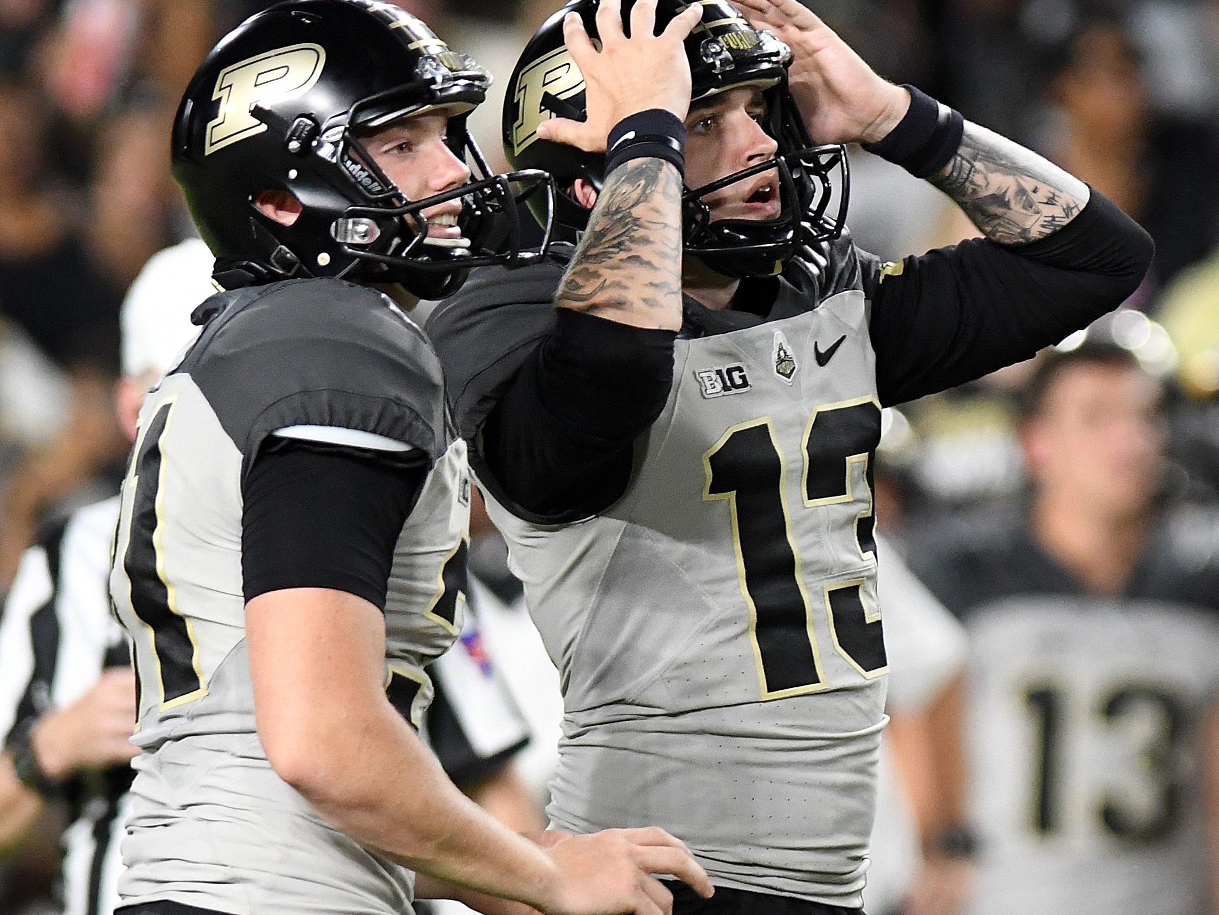 Purdue Boilermakers kicker Spencer Evans (13) reacts after missing a field goal attempt in the second half against the Missouri Tigers at Ross-Ade Stadium.
