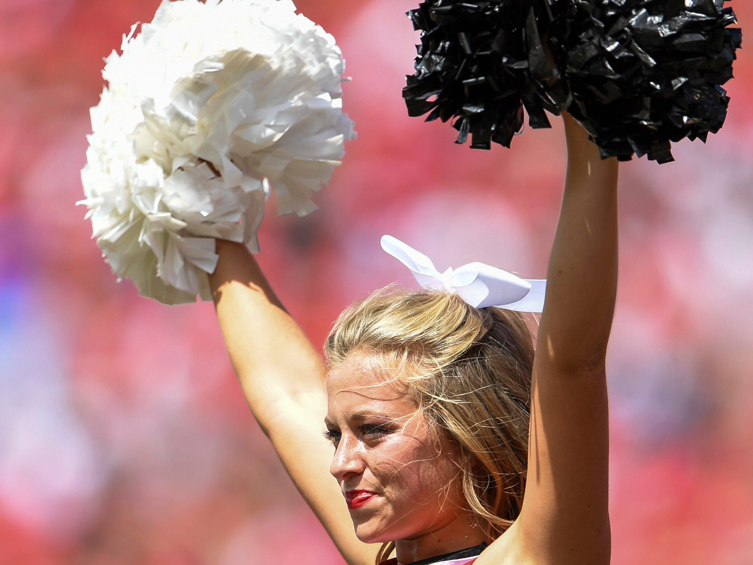 Week 3: A Georgia Bulldogs cheerleader reacts after a touchdown against the Middle Tennessee Blue Raiders.