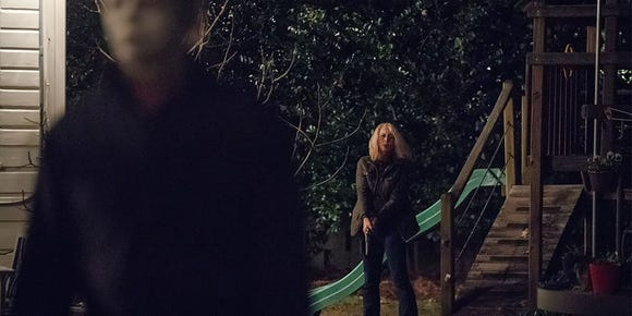 "Laurie Strode (Jamie Lee Curtis) faces her worst enemy for the first time in 40 years in ""Halloween."""