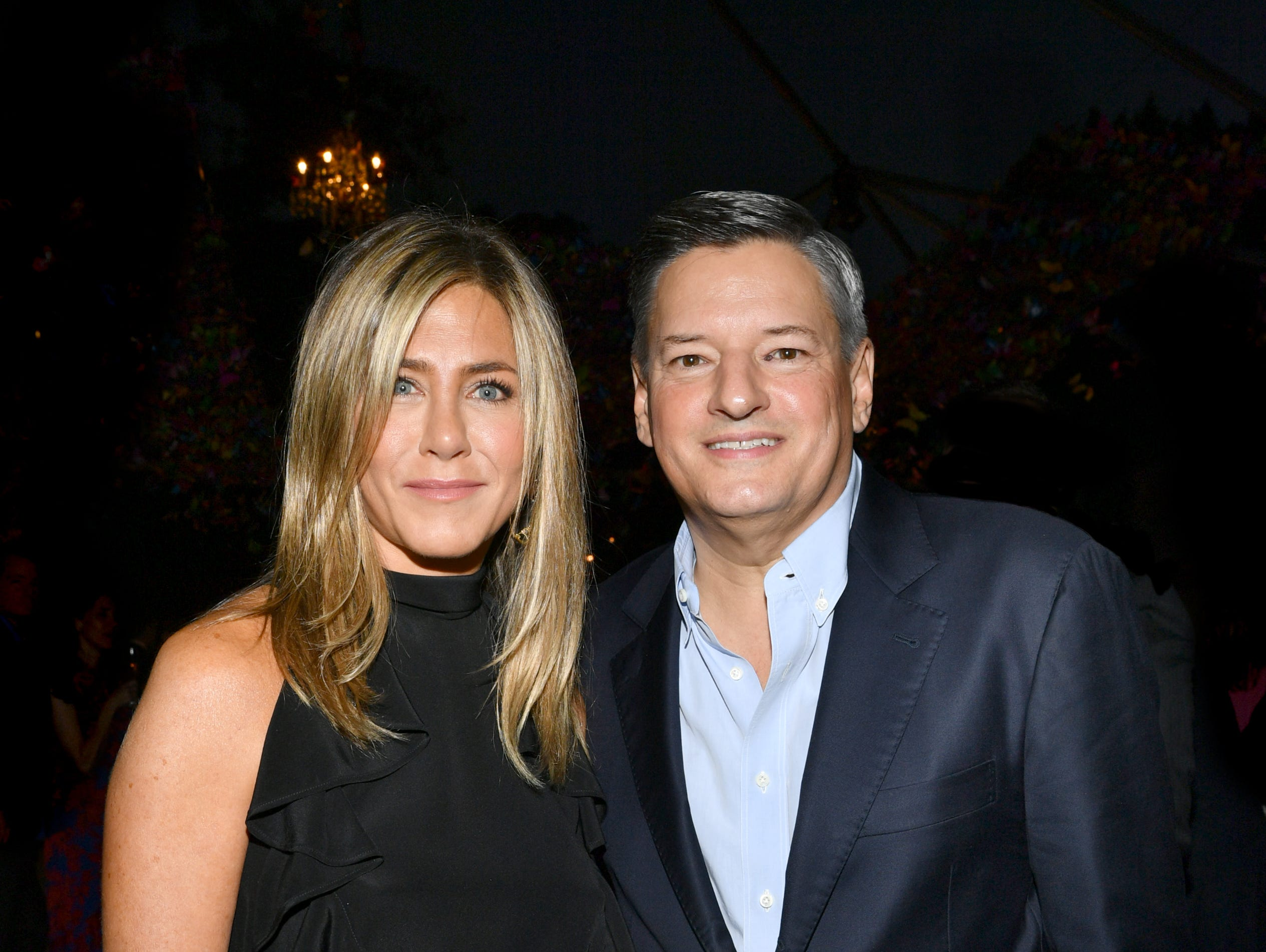 LOS ANGELES, CA - SEPTEMBER 15: Jennifer Aniston and  Netflix Chief Content Officer Ted Sarandos attend Ted Sarandos' 2018 Annual Netflix Emmy Nominee Toast on September 15, 2018 in Los Angeles, California.  (Photo by Emma McIntyre/Getty Images for Netflix) ORG XMIT: 775217665 ORIG FILE ID: 1033982752