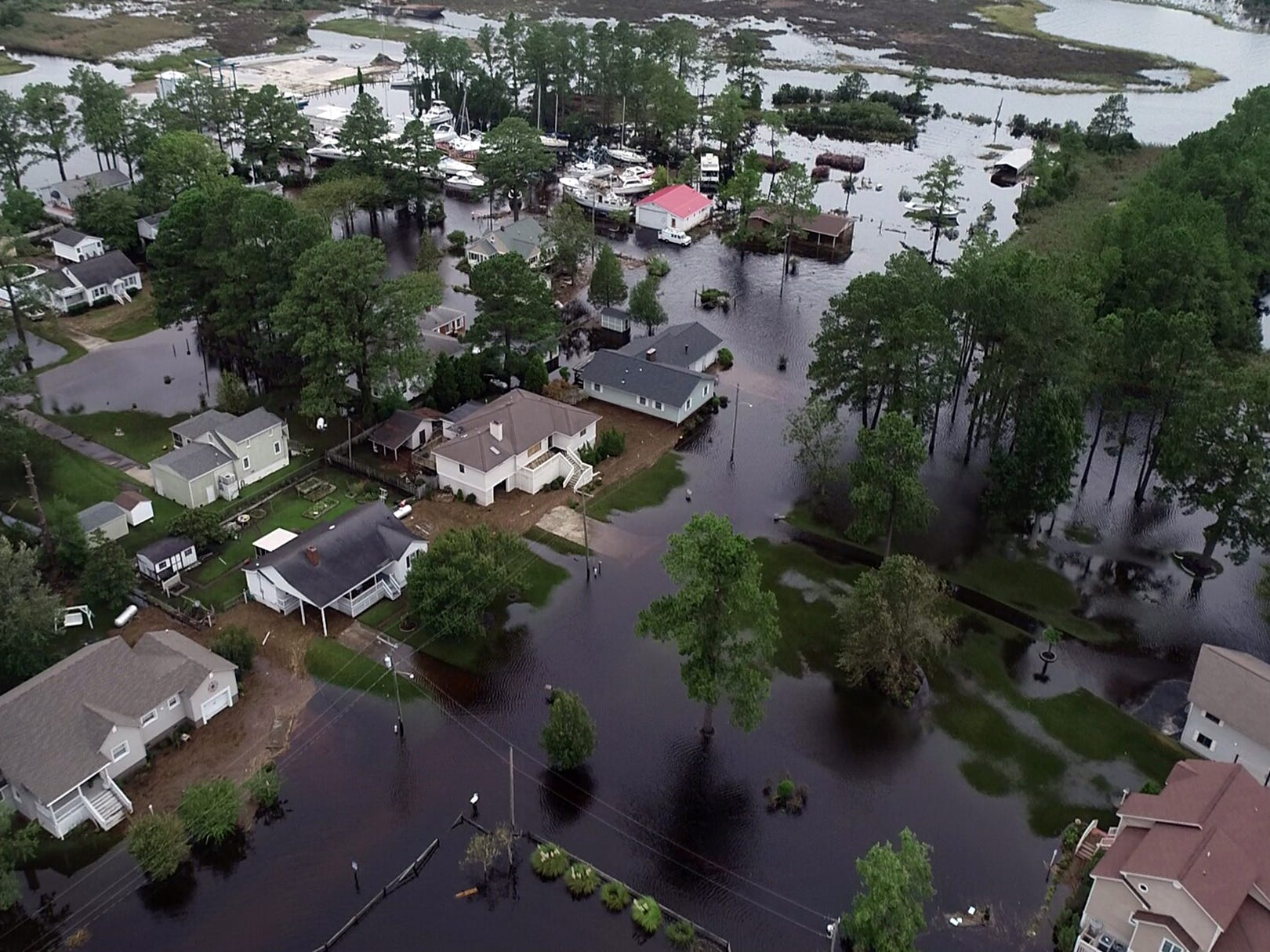 Flooded streets in Belhaven, N.C. on Sept. 15, 2018.