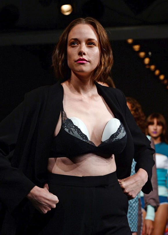 Model and mother of two Valeria Garcia shows off the silent,  wearable breast Elvie Pump at the BFC Show Space in London.