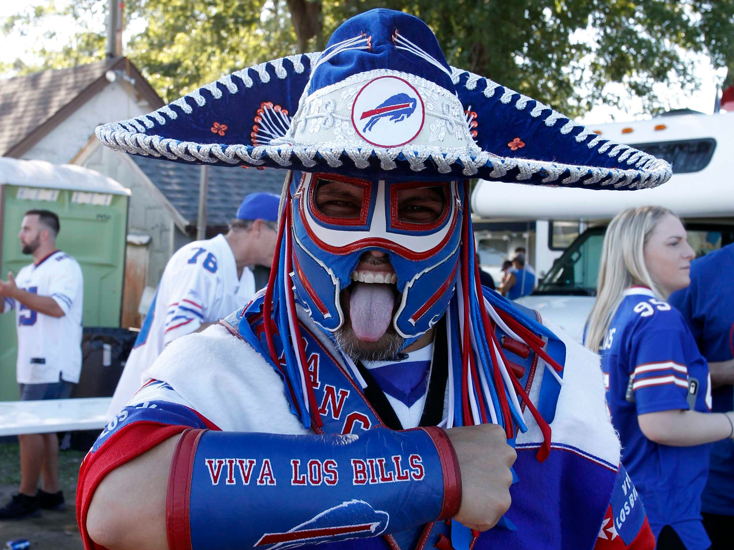 Buffalo Bills fan Poncho Billa before a game against the Los Angeles Chargers at New Era Field.
