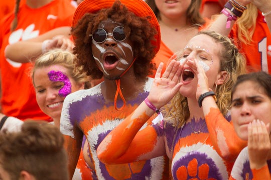 Week 3: Clemson Tigers fans cheer during the second half against the Georgia Southern Eagles at Clemson Memorial Stadium.