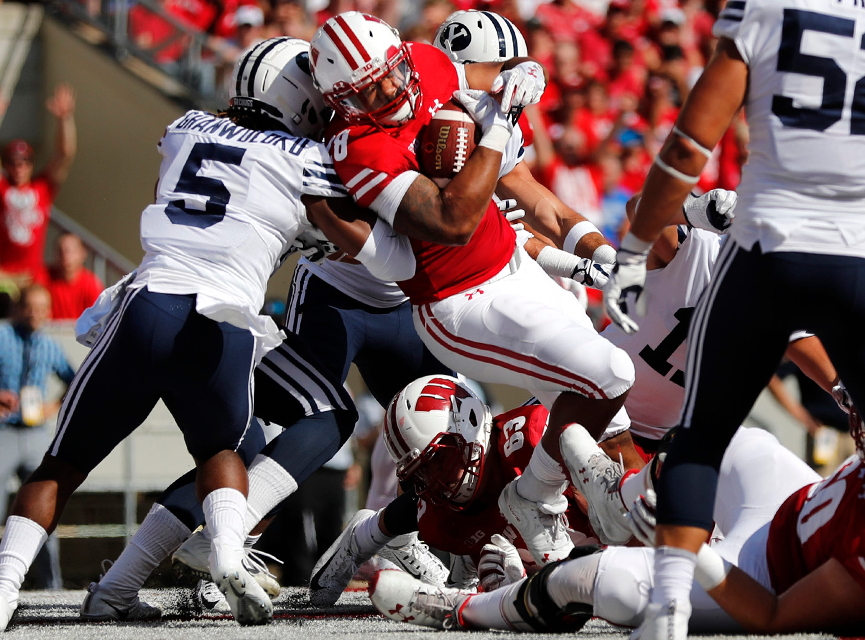 Wisconsin Badgers running back Taiwan Deal (28) runs into the end zone for a touchdown against the Brigham Young Cougars Saturday, Sept. 15, 2018, at Camp Randall Stadium in Madison, Wis.Danny Damiani/USA TODAY NETWORK-Wisconsin