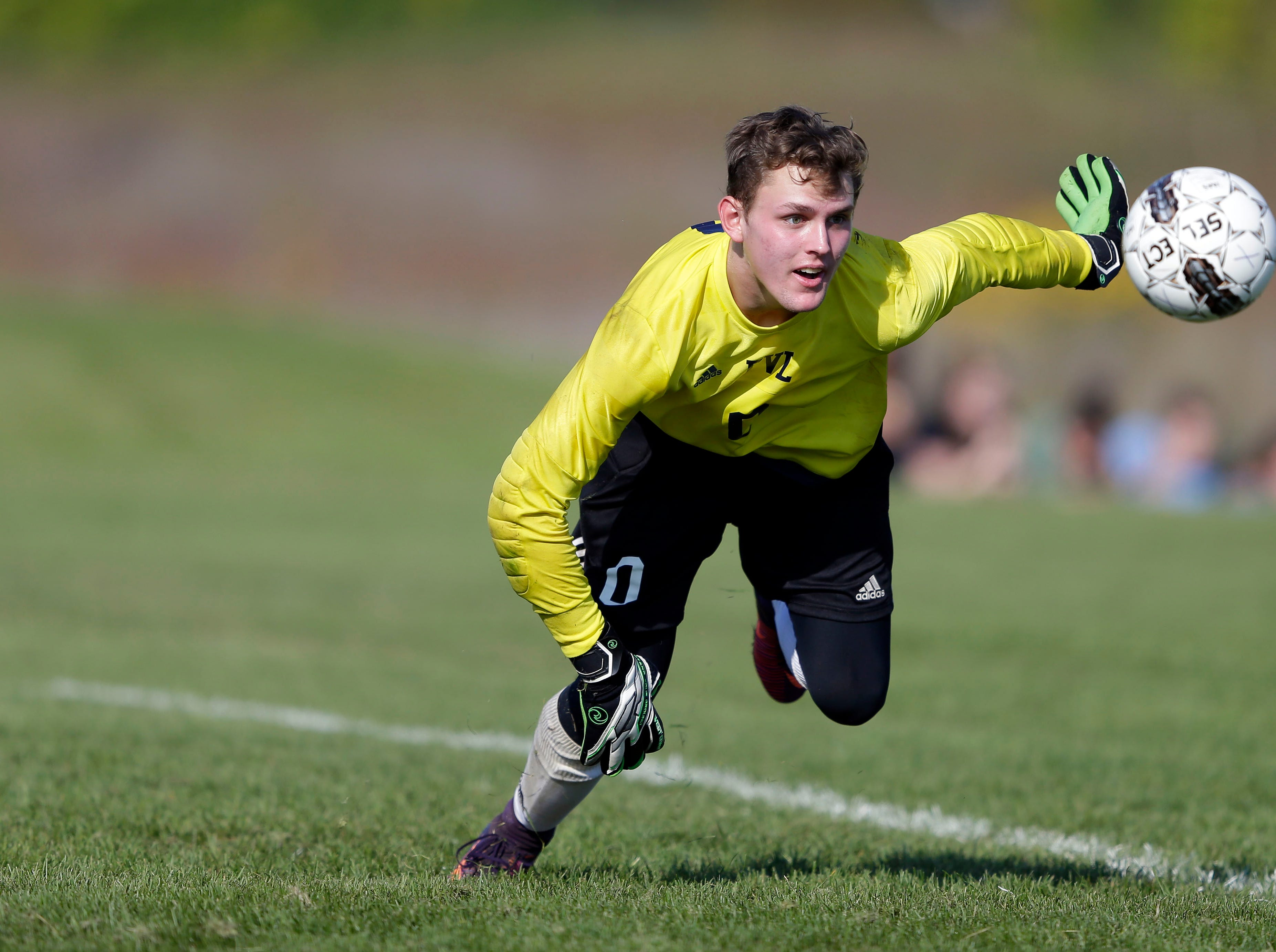 Steven Paulson goes for the ball as Fox Valley Lutheran and Xavier meet in the Xavier boys soccer tournament Saturday, September 15, 2018, at the Scheels USA Sports Complex in Appleton, Wis.Ron Page/USA TODAY NETWORK-Wisconsin