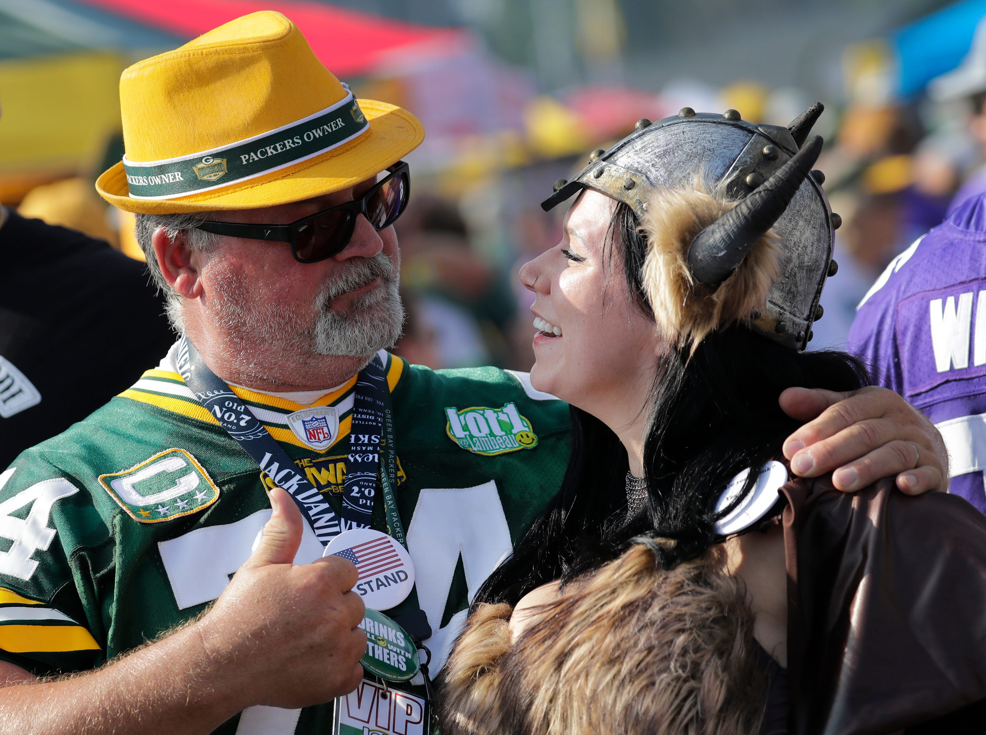 Scott Schwartz, left, of Pulaski, WI, and  Amber Reynolds of Minneapolis, MN, hang out prior to the Green Bay Packers playing against the Minnesota Vikings Sunday, Sept. 16, 2018, at Lambeau Field in Green Bay, Wis. Dan Powers/USA TODAY NETWORK-Wisconsin