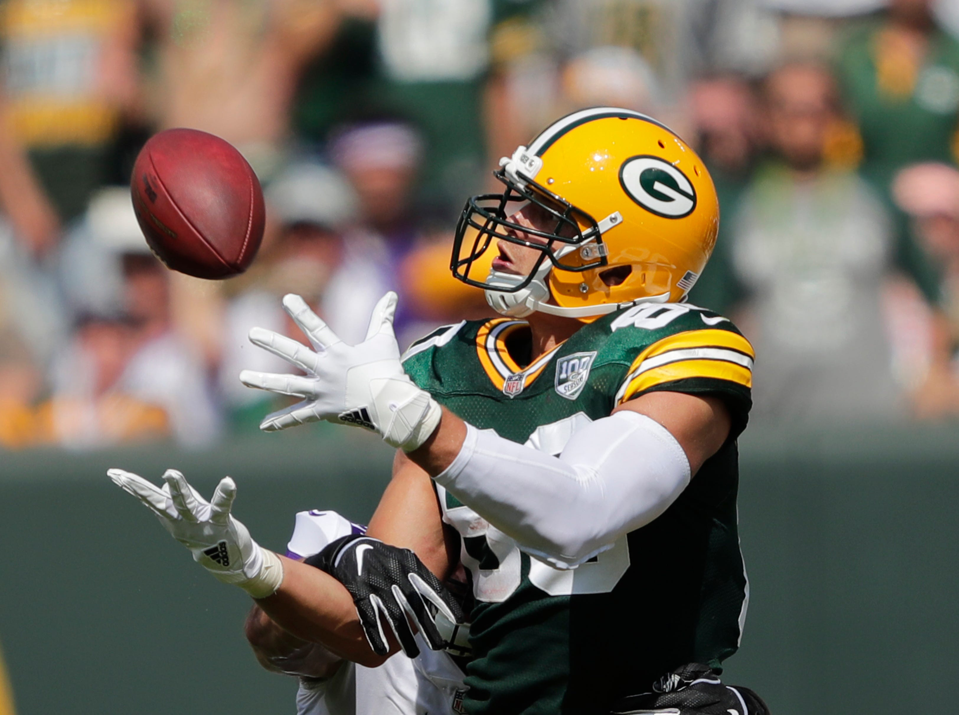 Green Bay Packers tight end Jimmy Graham (80) can't make a catch against Minnesota Vikings linebacker Ben Gedeon (42) in the second quarter during their football game Sunday, Sept. 16, 2018, at Lambeau Field in Green Bay, Wis. Dan Powers/USA TODAY NETWORK-Wisconsin