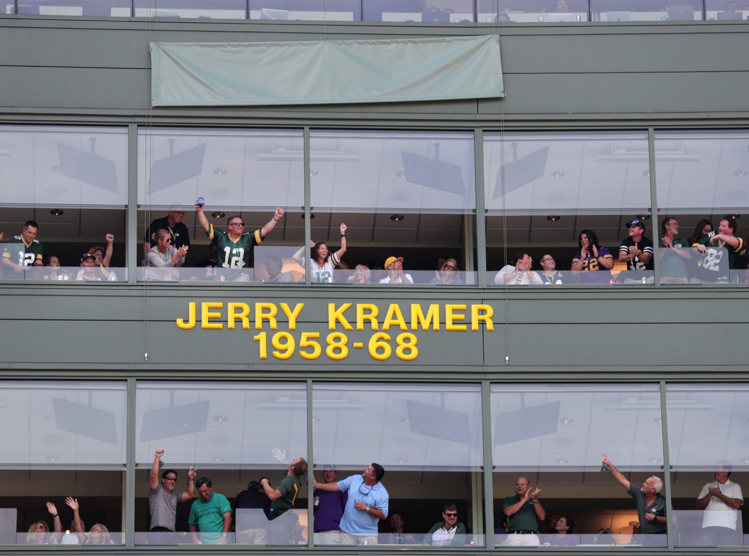 NFL Hall of Famer Jerrty Kramer Ring of Honor ceremony at halftime of Green Bay Packers against the Minnesota Vikings football game on Sunday, September 16, 2018, at Lambeau Field in Green Bay, Wis. Wm. Glasheen/USA TODAY NETWORK-Wisconsin.