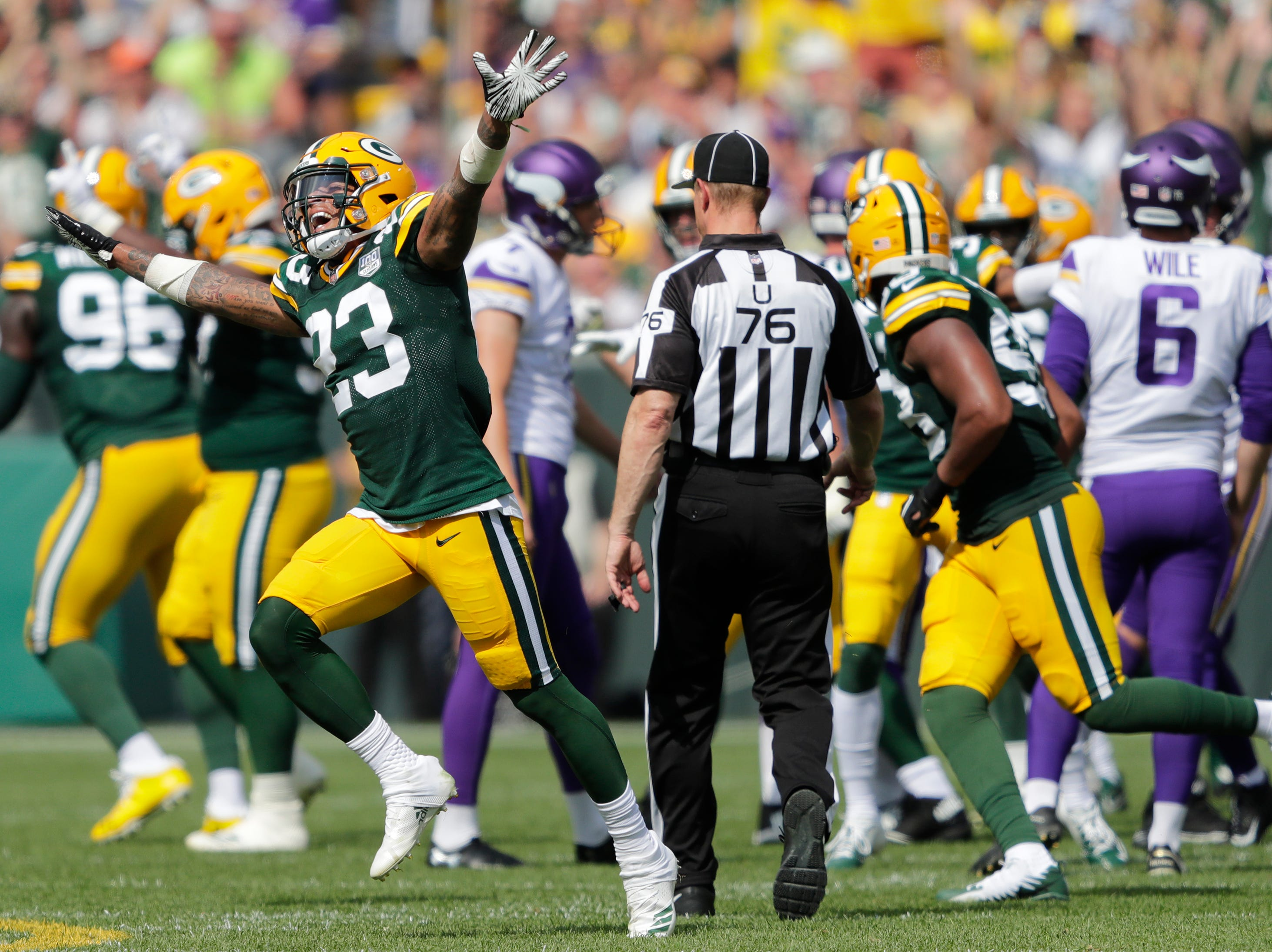 Green Bay Packers cornerback Jaire Alexander (23) reacts to a missed field goal attempt by the Minnesota Vikings late in the second quarter during their football game Sunday, Sept. 16, 2018, at Lambeau Field in Green Bay, Wis. Dan Powers/USA TODAY NETWORK-Wisconsin