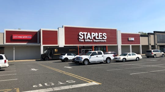 A new facade for the Staples shopping center on Route 35 in Middletown is part of a plan that includes a Tractor Supply Co. store.