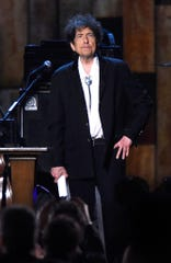 Honoree Bob Dylan appears onstage at the 25th anniversary MusiCares 2015 Person Of The Year Gala honoring Bob Dylan at the Los Angeles Convention Center on February 6, 2015 in Los Angeles, California.