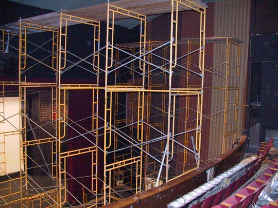 Scaffolding was needed during the renovations from the Towne Theater to the Endicott Performing Arts Center.