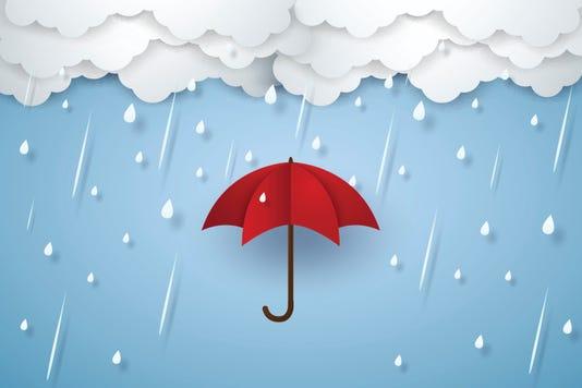 Umbrella With Heavy Rain Rainy Season