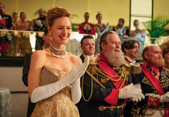 """This image released by Amazon Studios shows Kerry Bishe in a scene from """"The Romanoffs,"""" premiering on Oct. 12."""