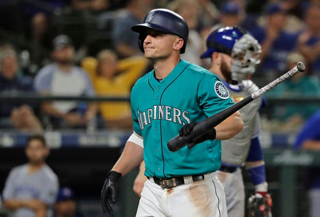 Kyle Seager strikes out during a 7-2 loss to Toronto on Aug. 3 in Seattle.