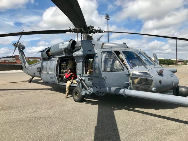 An HH-60G Pave Hawk crew with the 920th Rescue Wing prepares to take off for a flight along the South Carolina coastline Monday afternoon at Joint Base Charleston.