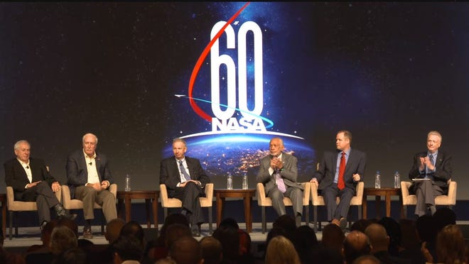 The largest gathering of NASA administrators in one place met Monday in Orlando to discuss the space agency's past and future as it nears its 60th anniversary. From left, former administrators Dick Truly (not shown), Dan Goldin, Sean O'Keefe, Mike Griffin and Charlie Bolden, current administrator Jim Bridenstine, and space historian Roger Launius, who moderated the discussion at the AIAA Space Forum.