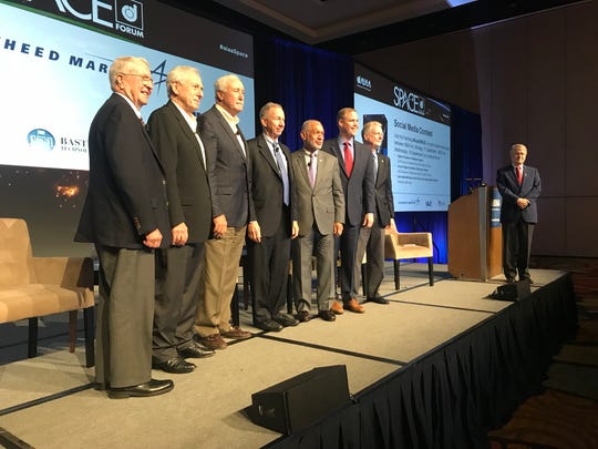 The AIAA Space Forum in Orlando on Monday gathered former NASA administrators Dick Truly, Dan Goldin, Sean O'Keefe, Mike Griffin and Charlie Bolden for a discussion with current administrator Jim Bridenstine. At right are space historian Roger Launius and AIAA President John Langford.
