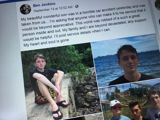 Ben Jenkins, the father of Solomon Jenkins, 16, who died in a crash on Sept. 13, 2018, in Williston, posted on Facebook the next day about the loss and shared photos of the teen.