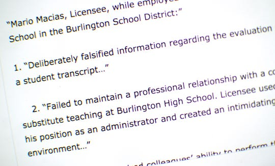 BHS Register's online homepage shows a story publishing public information from the Vermont Agency of Education outlining six counts of unprofessional conduct against Burlington High School guidance director Mario Macias.