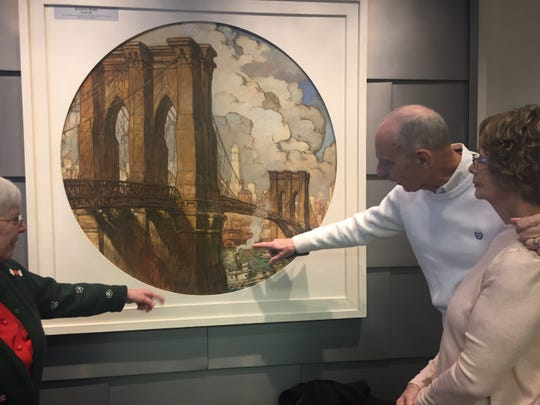 """The Roebling Museum in Florence  boasts a newly restored painting of the Brooklyn Bridge over the East River between Manhattan and Brooklyn. Film director Ken Burns will  unveil  his remastered  """"Brooklyn Bridge,"""" documentary Saturday at the museum, named for the bridge builder."""