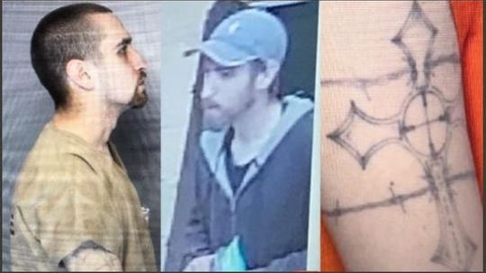 An FBI Wanted poster shows Shawn Christy and a distinctive tattoo. Christy, a Maple Shade native, is sought for threatening President Trump and others via social media in June.