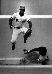JUNE 1975: Joe Morgan forces Bill Madlock out at second. The Enquirer/Dick Swaim