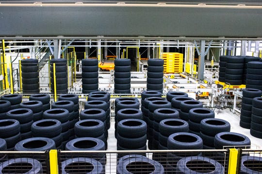 Tires are stored and inspected before shipment at the Hankook plant in Clarksville in 2018. Hankook was found to have violated the Fair Labor Standards Act by not paying employees properly for overtime, according to a U.S. Department of Labor investigation.